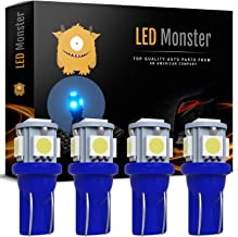 LED Monster 4pcs Ice Blue T10 194 168 Wedge 5-5050-SMD LED License Plate Light Lamp Bulb 12V (5 SMD)