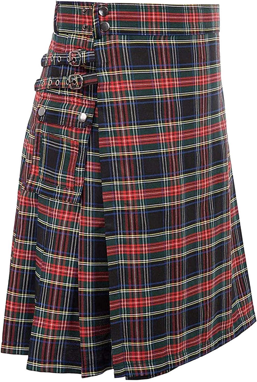 Mens Gothic Kilt Men's Sport Utility Kilt Scotland Gothic Fashion Kendo Pocket Skirts Scottish Clothing