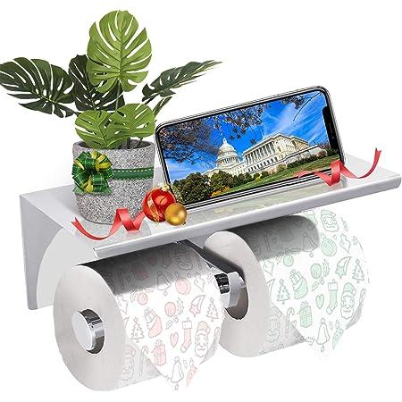 GEMITTO Porte papier toilette double, Mural avec deux rouleaux, Etagère de rangement en 304 acier Inoxydable, Porte rouleau de WC avec support de téléphone, Pour salle de bain (Argent)