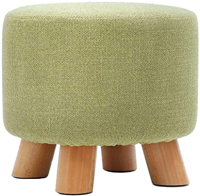 YYQIANG Makeup Stool Change Shoe Small Bench Round Chair Footrest Household Solid Wood Cotton Linen Ottoman Pouffe Footstool Durable Durable and Stylish (Color : Green)