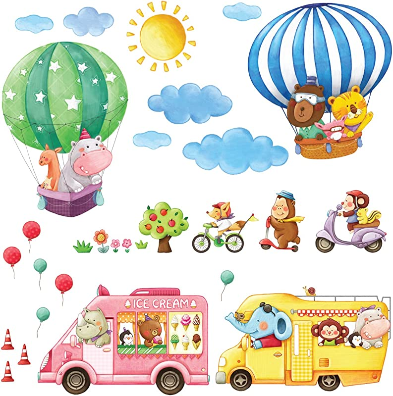 Decowall DA 18061P14064 Animal Transports And Hot Air Balloons Kids Wall Stickers Wall Decals Peel And Stick Removable Wall Stickers For Kids Nursery Bedroom Living Room