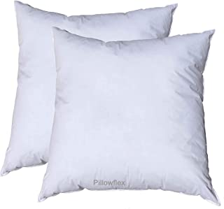 Pillowflex Premium Polyester Filled Pillow Form Inserts - Machine Washable - Square - Made in USA (15x15 Pack of 2)