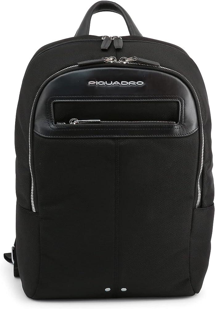 Piquadro, zaino porta tablet,pc portatile, porta laptop, in pelle e tessuto, nero