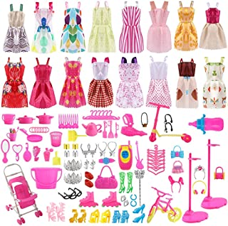 ASANMU 130 Piezas Accesorios para Muñecas Dolls, Ropa y