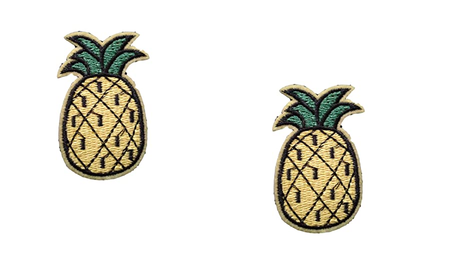 2 pieces PINEAPPLE Iron On Patch Fabric Applique Fruit Food Motif Children Ananas Decal 2.4 x 1.5 inches (6 x 3.8 cm)