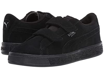 Puma Kids Suede 2 Straps (Little Kid) (Puma Black/Puma Silver) Kids Shoes