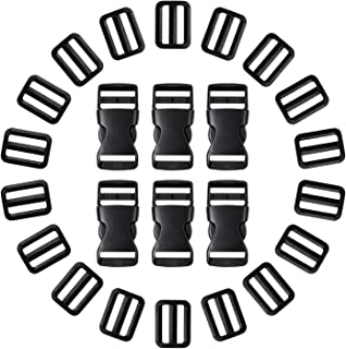 Shappy 20 Pack Flat Side Quick Release Plastic Buckles and 20 Pack Tri-Glide Adjustment Clips for 1 Inch (25 mm) Strap, Black
