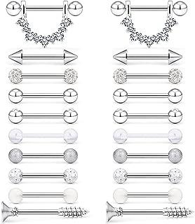 Yaalozei 14G Nipplerings Tongue Nipple Rings Piercing Strainght Barbells Stainless Steel Jewelry for Women Girls 4 Pairs-10 Pairs