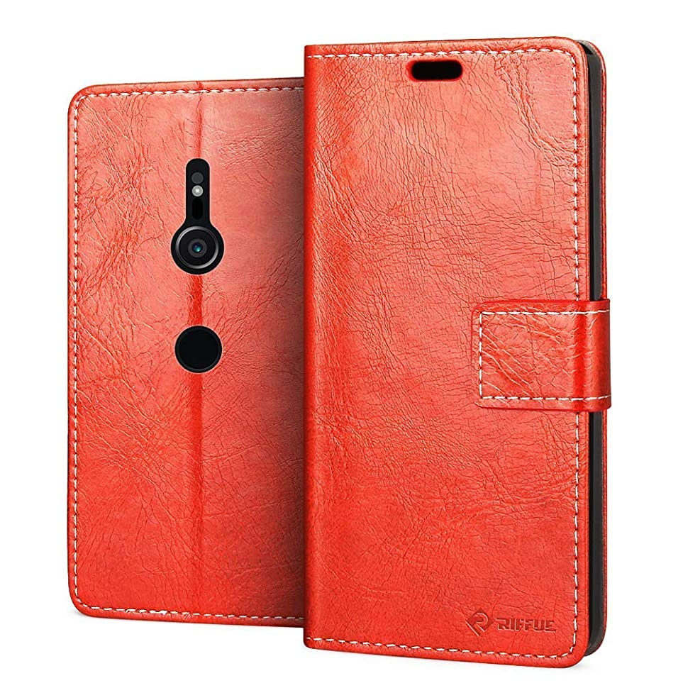 行列しなやかなそう{RIFFUE} SONY Xperia XZ3ケース 手帳型 おしゃれ 柔軟 レザー マグネット カード収納 スタンド かわいい レトロ 薄型 Xperia XZ3 SOV39 ケース-レッド