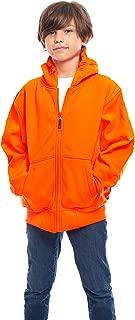 TrailCrest Kid's Safety Blaze Orange/Camo Double Fleece Full Zip Hoodie