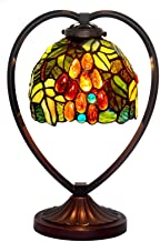European Retro Grape Table Lamp Tiffany Style Stained Glass Desk Light for Living Room Bedroom Bedside Night Lighting Fixt...