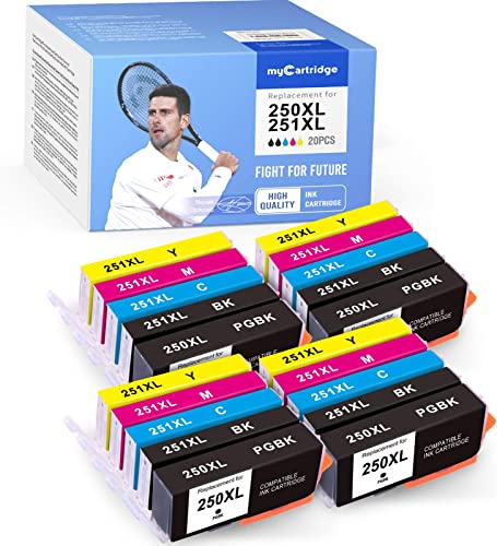 lowest MYCARTRIDGE Compatible Ink Cartridge Replacement for Canon PGI-250XL 250XL CLI-251XL 251XL sale for PIXMA MX922 MG6320 MG7520 MG6620 MG5420 (4 Photo Black, 4 Black, 4 Cyan, 4 2021 Magenta, 4 Yellow, 20-Pack) outlet sale