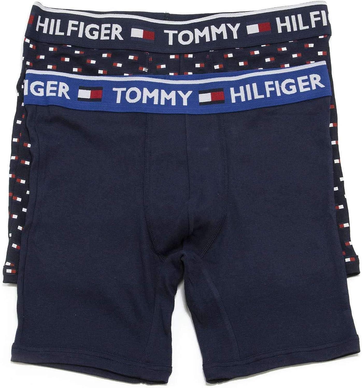 Tommy Hilfiger Men's Underwear 2 Pack Bold Cotton Boxer Briefs, Night Blue, Large