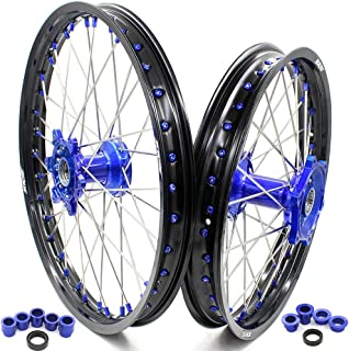 KKE 21 & 19 Casting Spoked MX Wheels Set for YAMAHA YZ125 YZ250 1999-2020 YZ250F 2001-2020 YZ450F 2003-2020 Blue Alloy Nipple