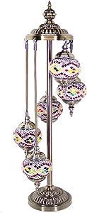 Kindgoo Lampada Turca da Terra Piantana Vintage Lampada Orientale Marocchina Mosaico Colorata in Vetro 5 Sfere Led E14 Lampadine Incluse (Giallo)