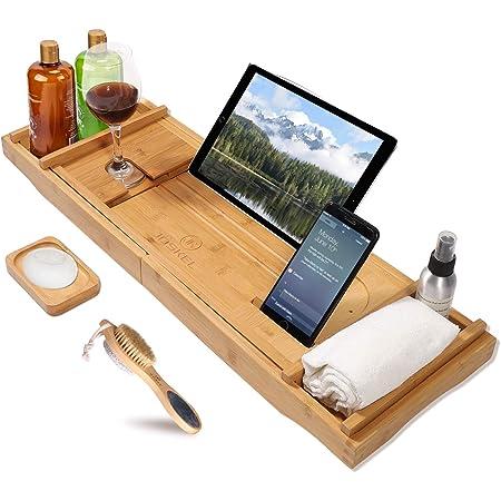 luxury bathtub shelf bamboo 75-110cm extendable bathtub board stand with books or tablet holder for 1-2 single baths gift free soap holder brown eletecpro Bathtub Caddy