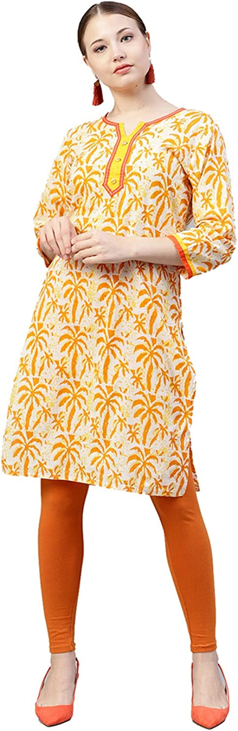 Jaipur Kurti Women Yellow Ethnic Motifs Straight Cotton Kurta
