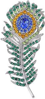 Peacock Bird Feather Brooch Pin Clear Green Crystal Rhinestone Art Deco Costume