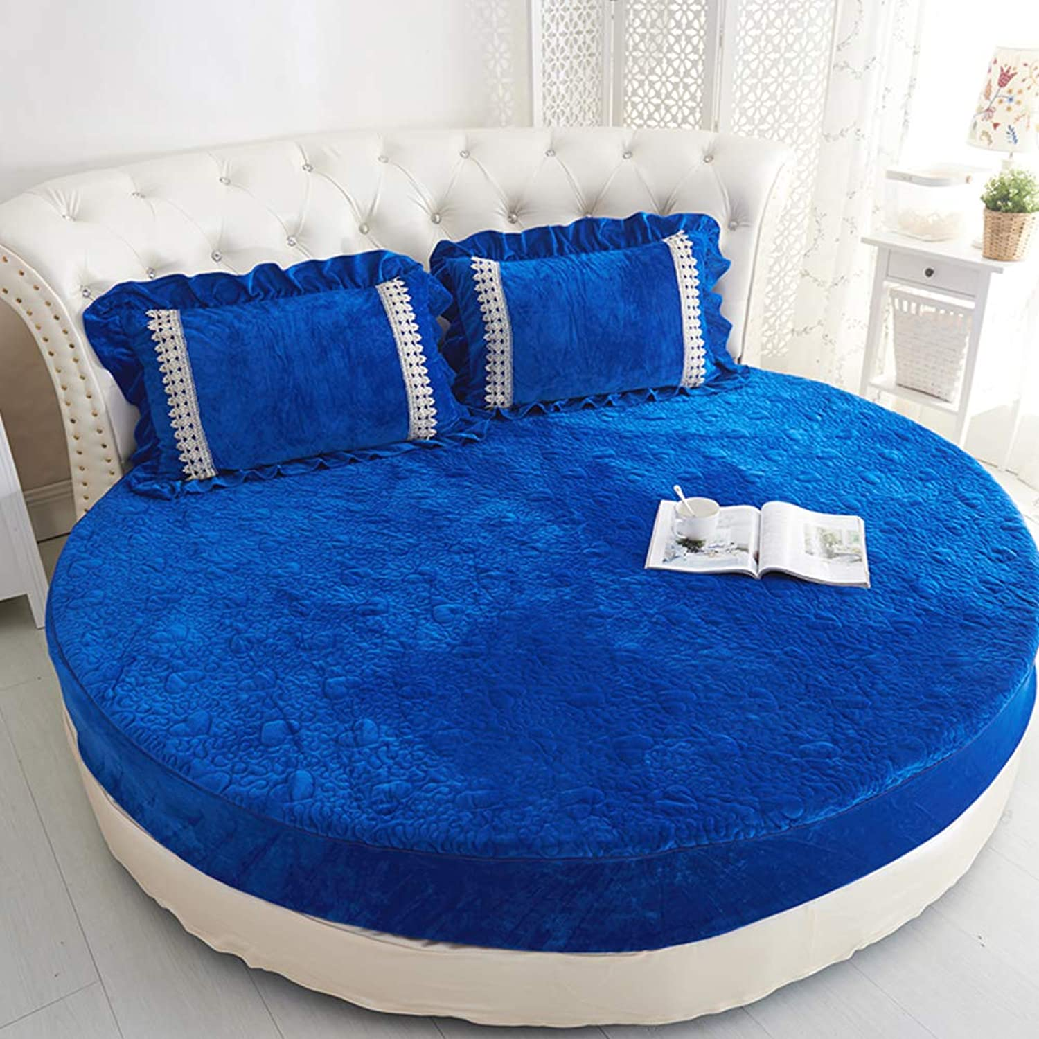 Plush Round Bed Fitted Sheets,Thickened Quilted Bed Cover Fully Elastic All Around Bedspread Soft Skin-Friendly Mattress Anti-Slip Cover Washable-L diameter220cm(87inch) Version A