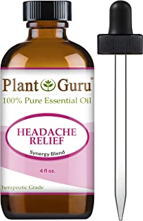 Headache Relief Essential Oil Blend (Migraine) 4 oz 100% Pure, Undiluted, Therapeutic Grade. (Blend of: Lavender Dalmatia, Peppermint, Wintergreen, Frankincense, Marjoram, Rosemary)