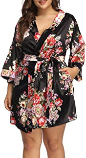 31d5cb1c3ee Allegrace Women s Plus Size Floral Print Wrap Front Satin Kimono Robes Sexy  Nights Short Pajamas