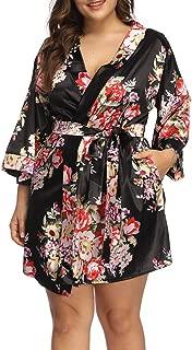 Women's Plus Size Floral Print Wrap Front Satin Kimono Robes Sexy Nights Short Pajamas