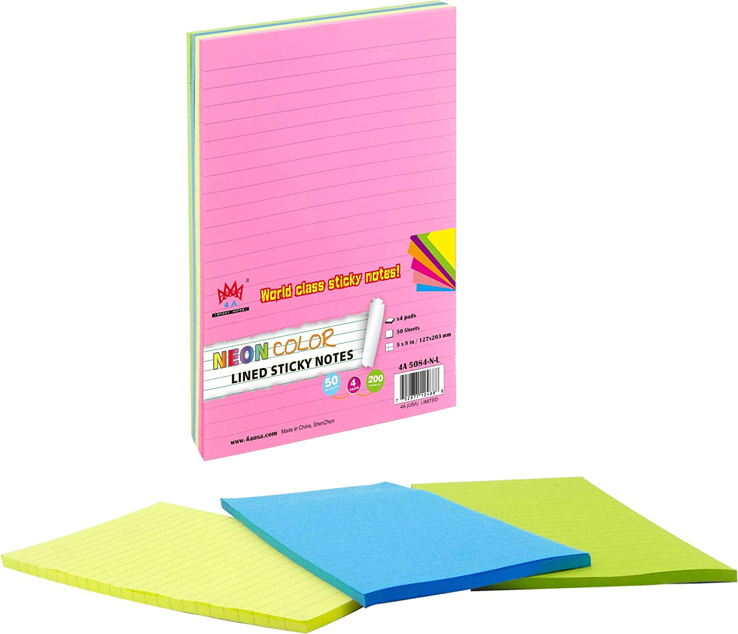 Stick Notes Pad 76x76mm 400 Sheets x 5 Neon Colours