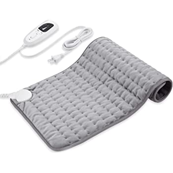 "Dekugaa Heating Pad, Electric Heating Pad for Moist & Dry Heat, 6 Electric Temperature Options, 4 Temperature Settings-Auto Shut Off -King Size 12"" x 24""-Hot Heated Pad (Silver Gray)"