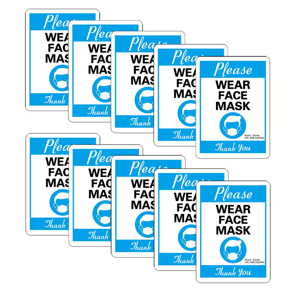 10 Pack Face Mask Required - Distancing Sign 11