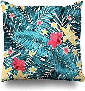 Funda de Almohada Funda de Almohada Follaje Azul Plumeria Selva Tropical Hojas de Palma Flor de Verano Bosque exótico Funda de cojín de Playa