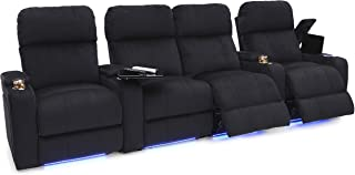 Seatcraft Bonita Home Theater Seating Bella Fabric Power Recline with Powered Headrest, in-Arm Storage, USB Charging, Tray Tables, Lighted Cup Holders and Base, Row of 4 Middle Loveseat, Black