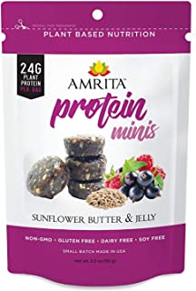 Amrita Foods Top 9 Allergy-free - High Protein Bites, Non-GMO, Sunflower Butter and Jelly Flavor (Pack of 3)
