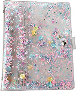 A5 6-Ring Loose Leaf Binder Cover PVC Glitter A5 Planner Binder Cover Notebook Binder Refillable Notebook Shell with Snap Button Closure for Round-Ring Planner Pages (Inner Paper Not Included)