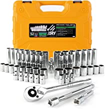 "STEELHEAD 52-Piece Mechanics Tool & Socket Set (ANSI Grade), SAE & Metric, 3/8"" 72-Tooth Quick-Release Ratchet, Standard & Deep 6 & 12 Pt. Sockets, Universal Joint & Extensions, Heavy-Duty Case"