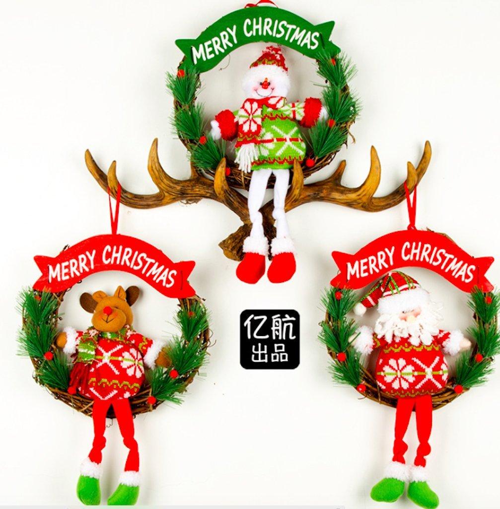 Pack de 3 pintado de Papá Noel árbol de Navidad adornos para Navidad decoración: Amazon.es: Hogar