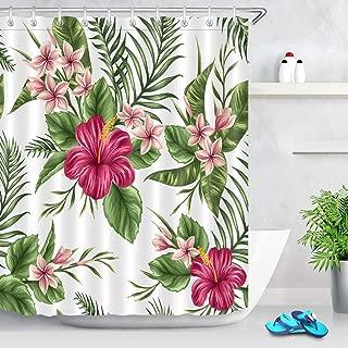 LB Hawaiian Tropical Leaf Flowers Decor Shower Curtain for Bathroom, Hibiscus Plumeria Floral Plant Theme, Water Repellant Decorative Curtain, 59 W x 70 L