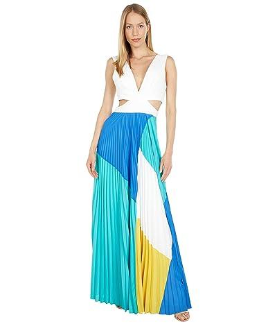 BCBGMAXAZRIA Color-Block Pleated Gown