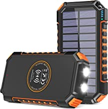 Solar Charger 26800mAh, Riapow Solar Power Bank 4 Outputs USB C Quick Charge Qi Wireless Portable Charger with LED Flashli...