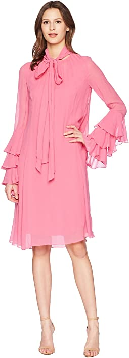 Crinkle Viscose Hudson Long Sleeve Ruffle Cuff Dress