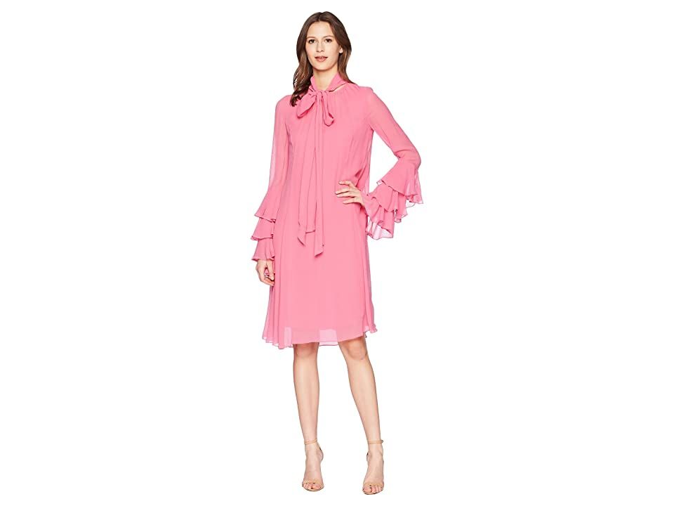 Prabal Gurung Crinkle Viscose Hudson Long Sleeve Ruffle Cuff Dress (Peony) Women