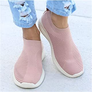 Women Flat Slip on White Shoes Woman Lightweight White Sneakers Summer Autumn Casual Flats Shoes (Color : Pink, Shoe Size ...
