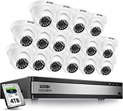 ZOSI H.265+ 16 Channel Security Camera System 1080p,16 Channel CCTV DVR with Hard Drive 4TB and 16 x 2MP Outdoor Indoor Dome Camera Wide Angle with Long Night Vision, Remote Access, Motion Detection