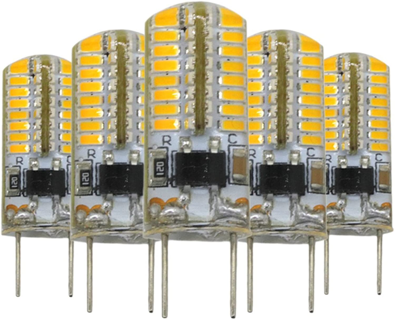 LL G8 64 LED 3014SMD 3 Watts 200300 Lm Warm White Dimmable Decorative LED Bipin Lights AC 110 V (5PCS) (color   Warm White)