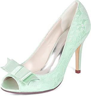 Creativesugar Women's lace Heels, Open Toe with Bow Sweet Wedding Shoes, Bridal Bridesmaid Dress Prom Pumps