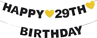 Happy 29th Birthday Black Glitter Paper Letter Banner Pennant Sweet Gold Glitter Heart Cheers to Twenty-nine Years Old Bday Fabulous Anniversary Party Event Funny Hanging Ornament Decoration Gift.