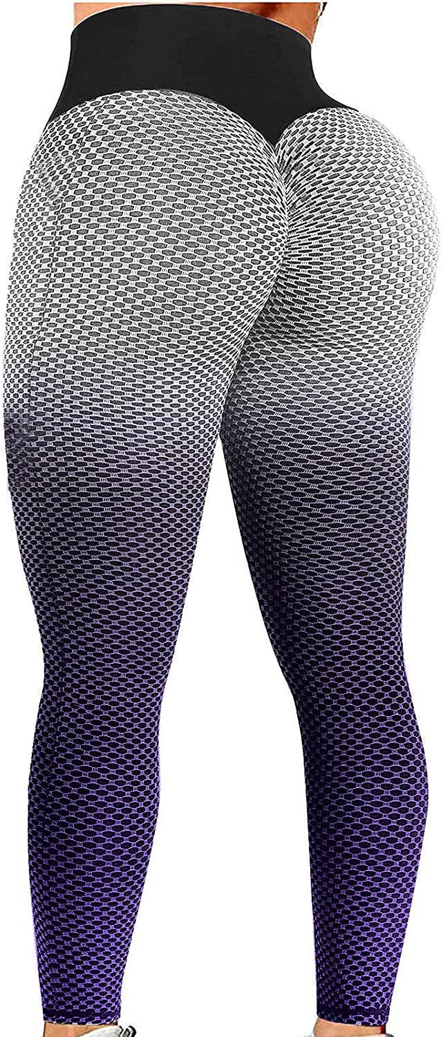 Women's High Waist Yoga Pants Tummy Control Slimming Booty Leggings Scrunched Workout Running Butt Lift Tights