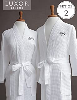 Luxor Linens Egyptian Cotton Mr. & Mrs. Waffle Robes - Perfect Engagement Gifts! - Mr. & Mrs.