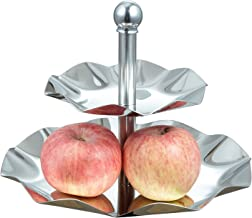 Visol Leaf 2 Tiered Stainless Steel Tray for Desserts/Cupcakes/Fruits/Cheese, Silver