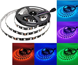 YUNBO LED Strip Lights RGB Black PCB Board NO Waterproof 12V Flexible LED Tape Lights Cuttable 300 Units SMD 5050 LED Lighting 16.4ft/5m
