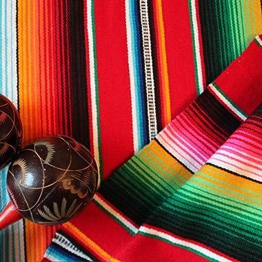Lansian Mexican Serape Table Runner 14 x 84 Colorful Striped Fringe Cotton for Fiesta Wedding Carnival Cinco De Mayo Party Su